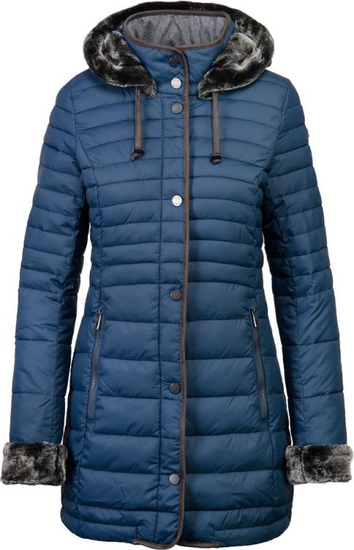 Dámská móda - Dámský kabát s kapucí s umělou kožešinou J191 modrá