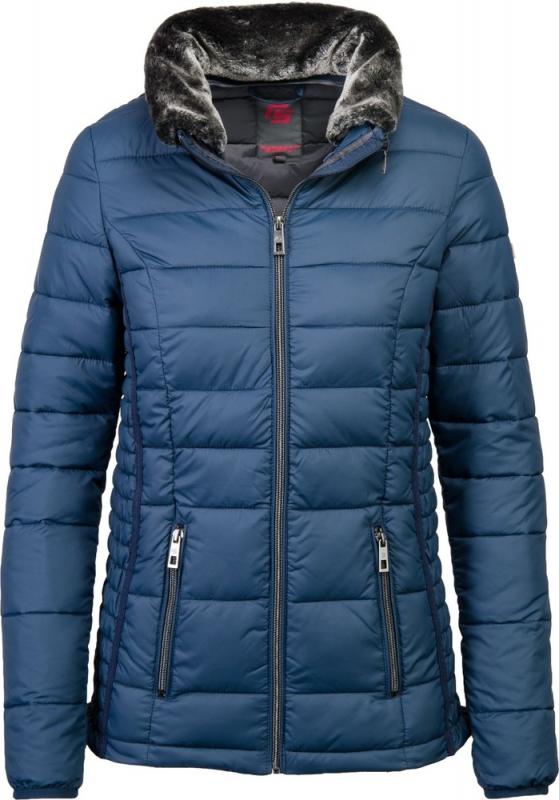 Dámská móda - Dámská zimní bunda s límcem s odnímatelnou umělou kožešinou J192 modrá
